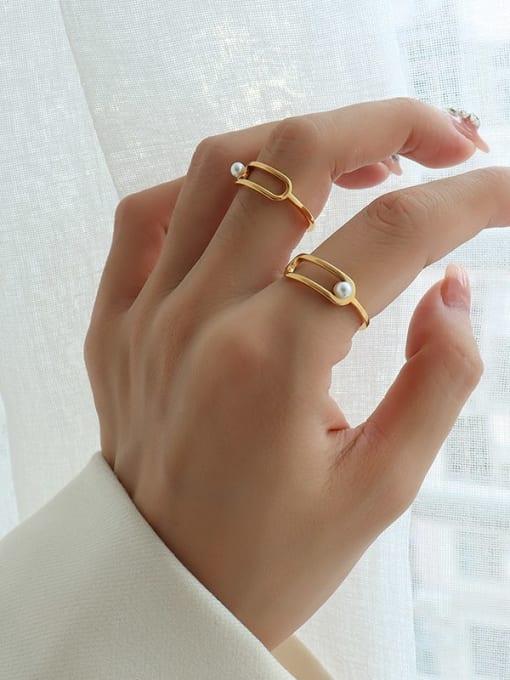 MAKA Titanium 316L Stainless Steel Imitation Pearl Geometric Minimalist Band Ring with e-coated waterproof 1