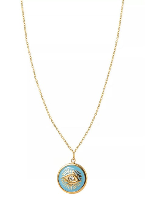 YAYACH Titanium Steel Gold Plated Pendant Simple Eye Stainless Steel Necklace 0