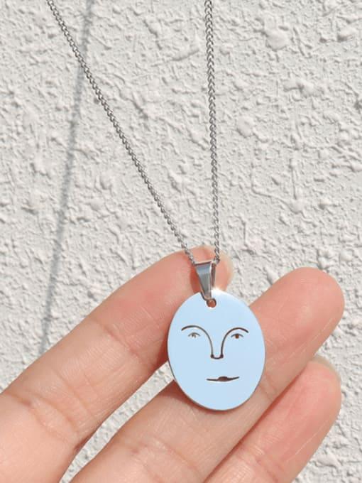 MAKA Titanium Steel Geometric Minimalist Human Face Pendant Necklace 2