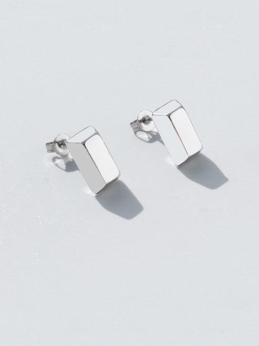 MAKA Titanium Steel Smooth Geometric Minimalist Stud Earring 2
