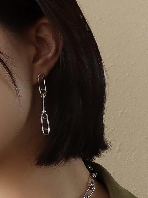 f449 pin splicing Steel Earrings Titanium Steel Vintage Geometric  Earring Braclete and Necklace Set