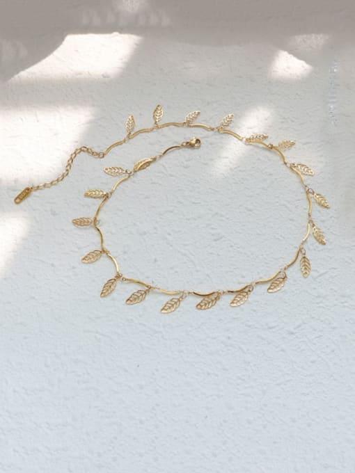MAKA Titanium Steel Leaf Vintage Necklace 2
