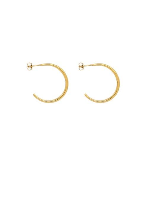gold (0.25MM) Titanium Steel C shape Minimalist Hoop Earring