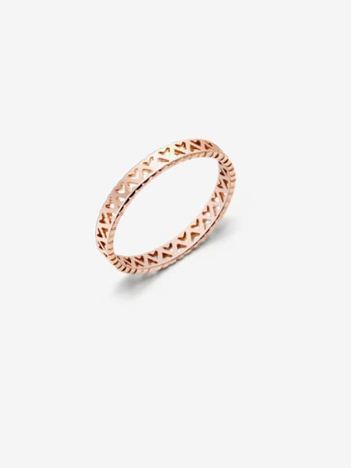 MAKA Titanium Steel Hollow Heart Minimalist Band Ring 0