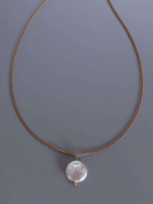 Gold Titanium Steel Freshwater Pearl Irregular Minimalist Necklace