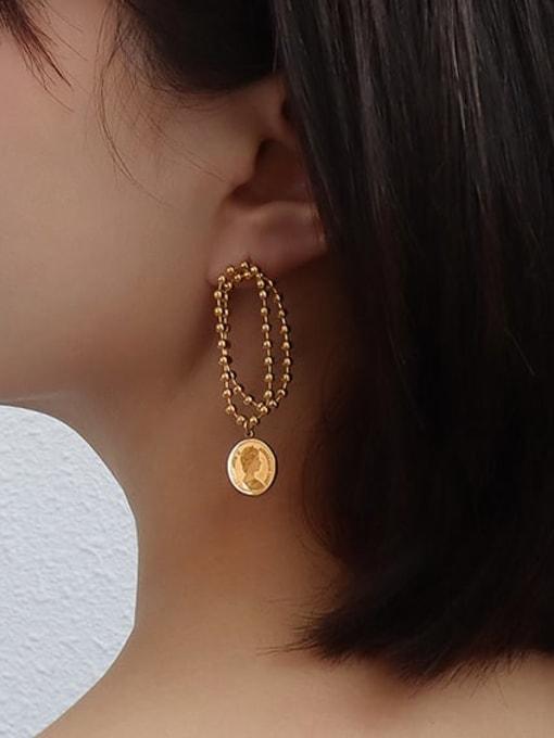 MAKA Titanium Steel Bead Geometric Vintage Drop Earring 1