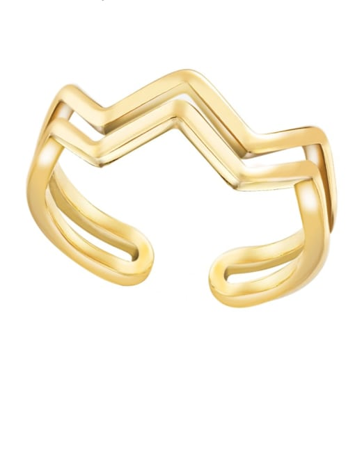 YAYACH Simple design, opening and overlapping titanium steel ring 2