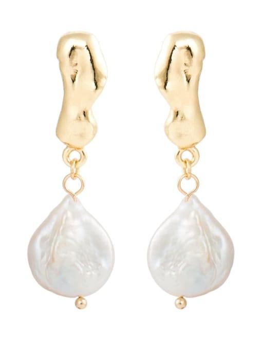 YAYACH Creative Korean Pearl Earrings European and American temperament dumb gold geometric female Earrings 1