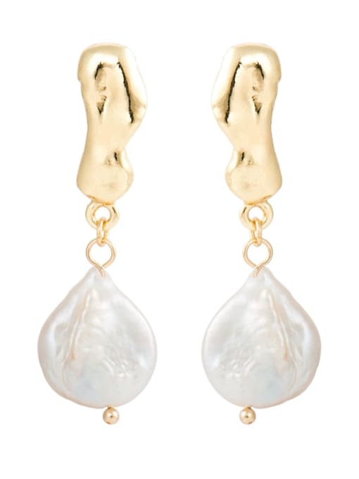 gold Creative Korean Pearl Earrings European and American temperament dumb gold geometric female Earrings