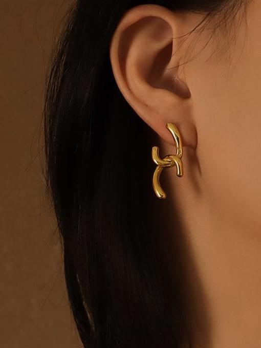 MAKA Titanium 316L Stainless Steel Irregular Minimalist Stud Earring with e-coated waterproof 1