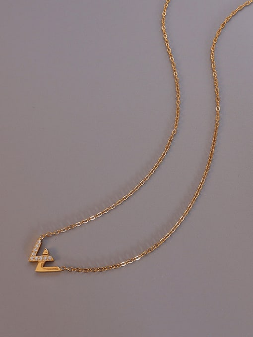 Gold Titanium Steel Cubic Zirconia Minimalist Letter W  Necklace