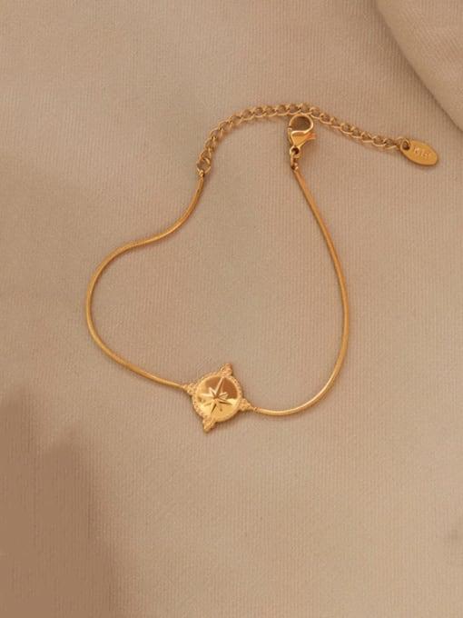 Gold bracelet 15 cm Titanium Steel Geometric Vintage Link Bracelet