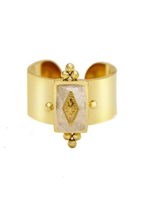 White Fashion golden natural stone geometric titanium steel ring