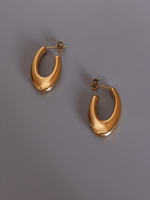 gold U-shaped Earrings Titanium 316L Stainless Steel Smooth Geometric Vintage Stud Earring with e-coated waterproof