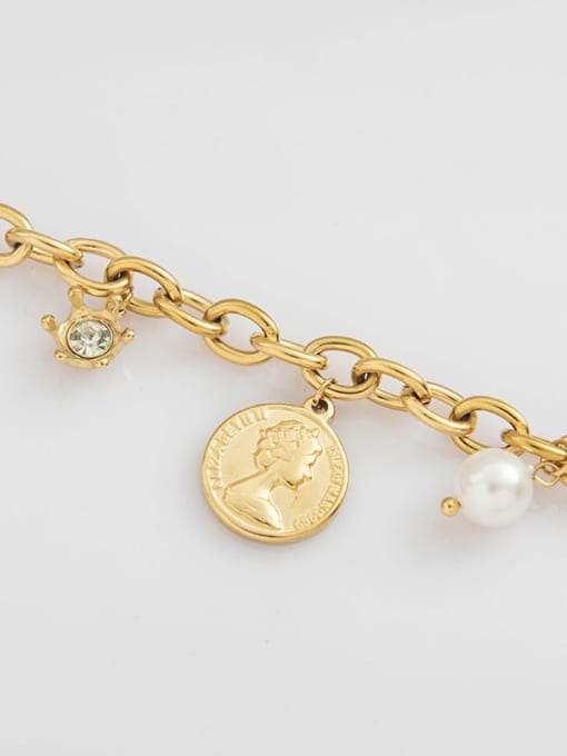 YAYACH Stainless steel Imitation Pearl Coin Trend Link Bracelet 2