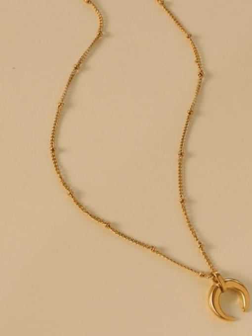 MAKA Titanium Steel Moon Minimalist Necklace 2