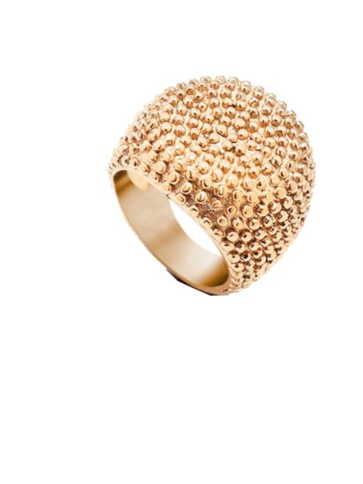 Rose gold round ring Titanium Steel Geometric Artisan Band Ring
