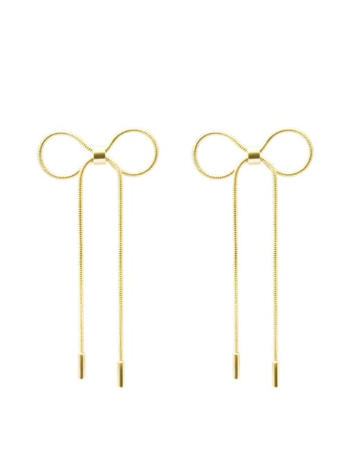 MAKA Titanium 316L Stainless Steel Bowknot Minimalist Threader Earring with e-coated waterproof 0