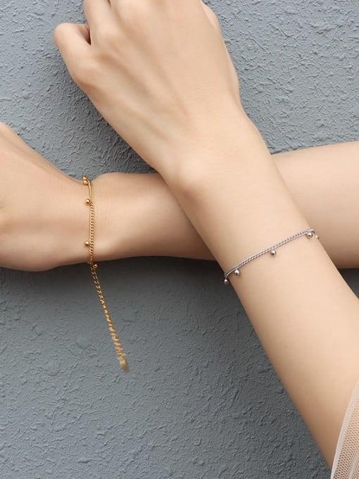 MAKA Titanium Steel  Bead Minimalist Link Bracelet 2