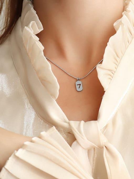 Steel color 40 +5cm Titanium Steel Minimalist  Hollow Number 7 Necklace