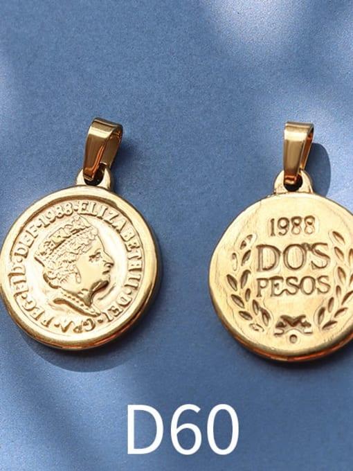 D60 gold Stainless steel Geometric  Vintage Pendant