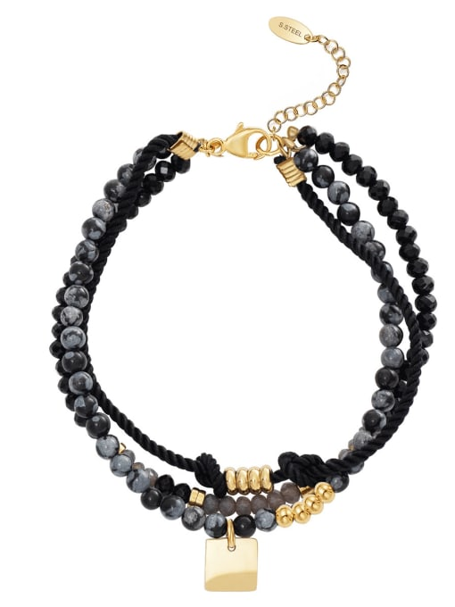 Black Handmade diy simple personality stainless steel jewelry