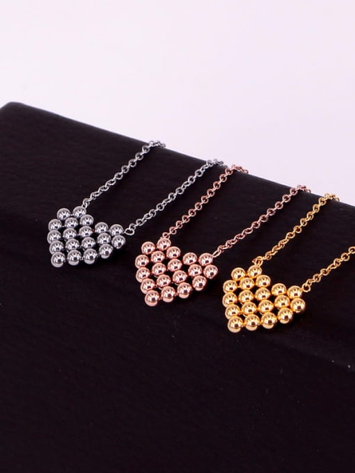K.Love Titanium Steel Smooth Bead Heart Minimalist Necklace 1