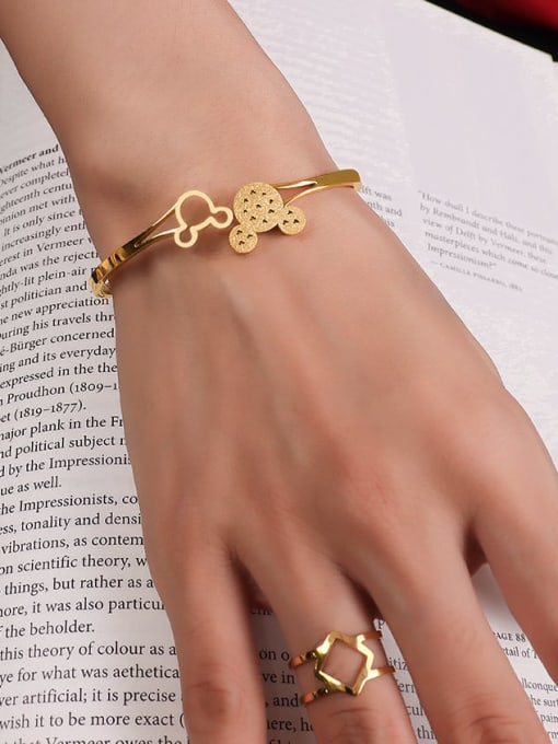MAKA Titanium 316L Stainless Steel Rhinestone Mickey Mouse Vintage Band Bangle with e-coated waterproof 3