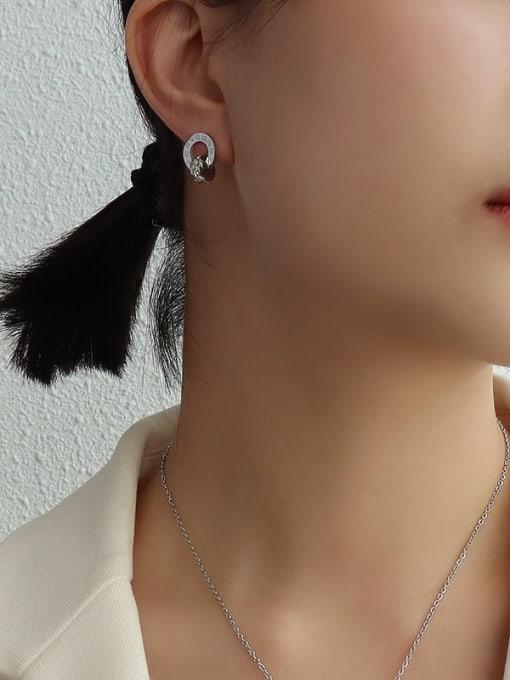steel Titanium Steel Minimalist Geometric Rhinestone Earring and Necklace Set