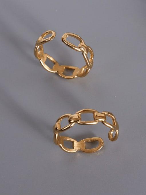 MAKA Titanium Steel Hollow Geometric Vintage Band Ring 0