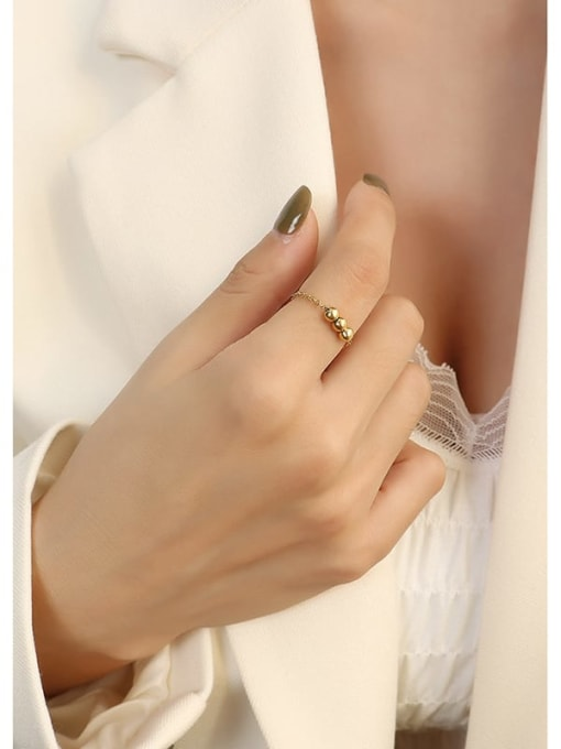 Golden three bead ring Titanium Steel Bead Round Minimalist Band Ring