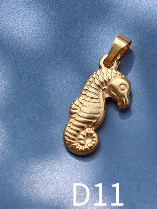 D11 golden Seahorse Titanium Steel Animal  Bird Cute Pendant