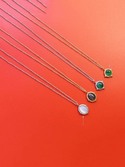 MAKA Titanium Steel Cats Eye Geometric Vintage Necklace 1