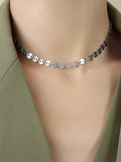 Steel thin round piece collar 35+8cm Titanium Steel Smooth Geometric Vintage Necklace