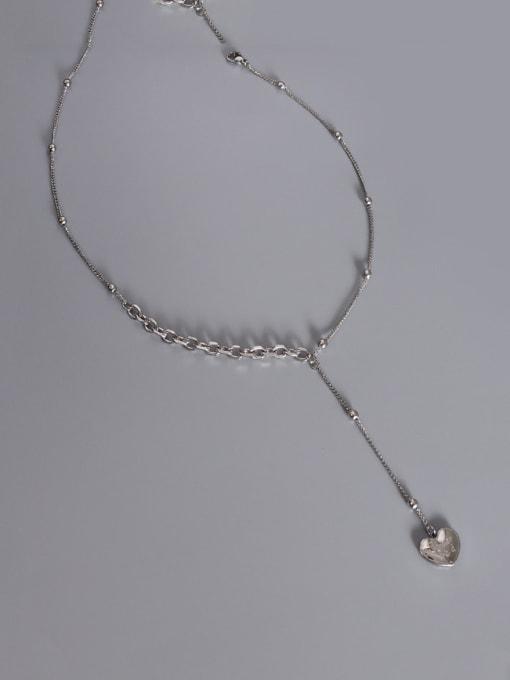 heart tassel   steel color 38+5cm Titanium Steel Tassel Minimalist Heart Lariat Necklace