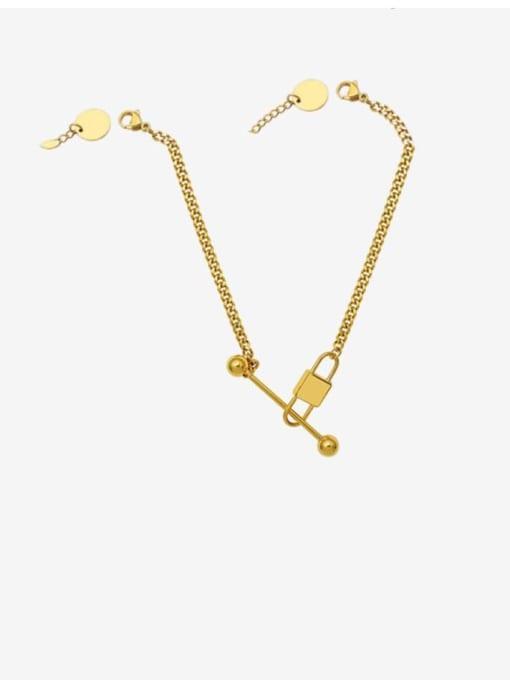 P1002 gold necklace 45+5cm Titanium Steel Vintage Geometric  Braclete and Necklace Set