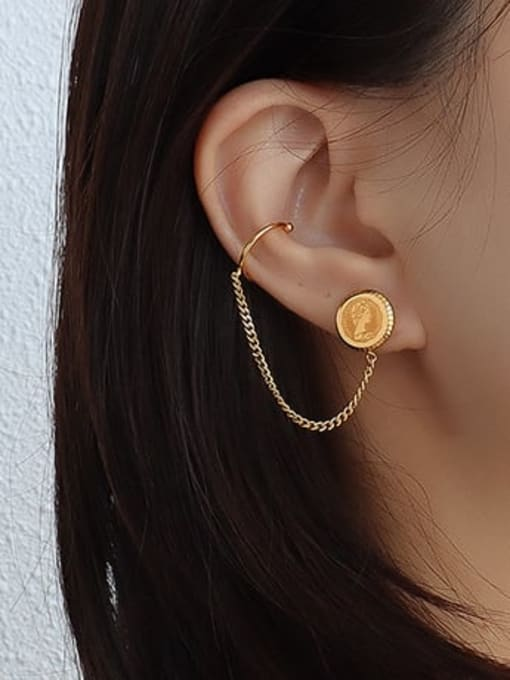 gold Titanium 316L Stainless Steel Tassel Vintage Threader Earring with e-coated waterproof