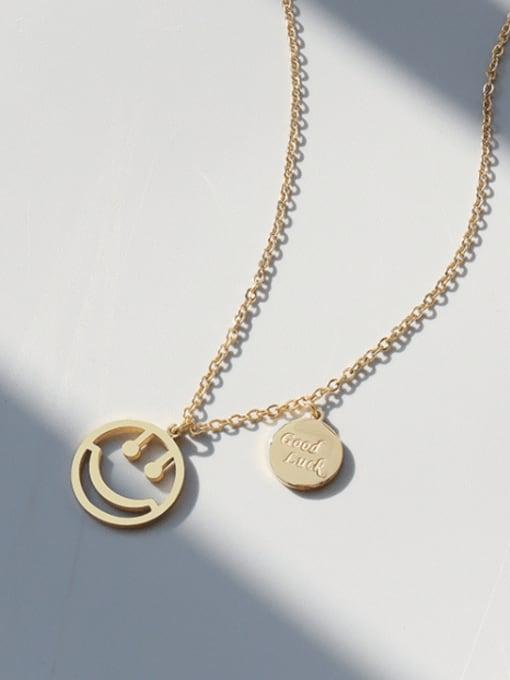 MAKA Titanium Steel Smiley Minimalist Necklace 1
