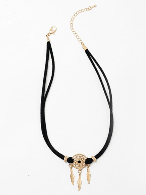 rose gold Alloy  Vintage  Hollow  Dreamcatcher Leather  necklace.