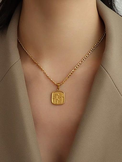 MAKA Titanium Steel Geometric  Flower Vintage Necklace 1