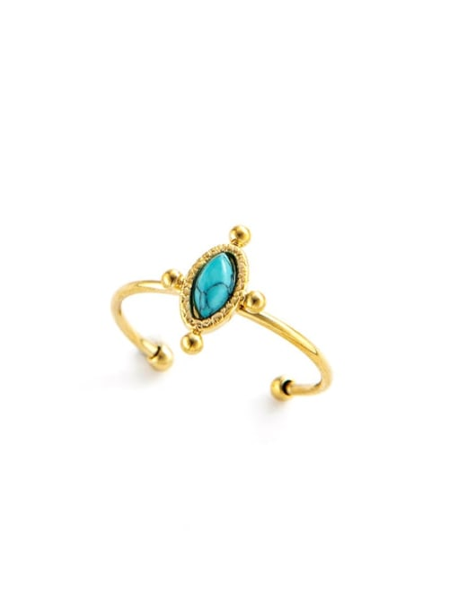YAYACH Round retro simple stainless steel ring inlaid with natural stone drops