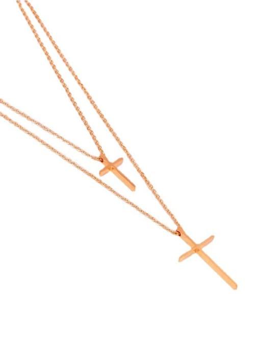 K.Love Titanium Steel Cross Minimalist Multi Strand Necklace