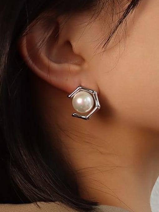 steel Pearl Earrings Stainless steel Imitation Pearl  Vintage Geometric Earring and Necklace Set
