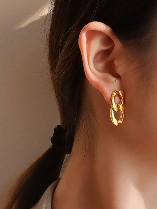 MAKA Titanium Steel Hollow Geometric Vintage Drop Earring 1