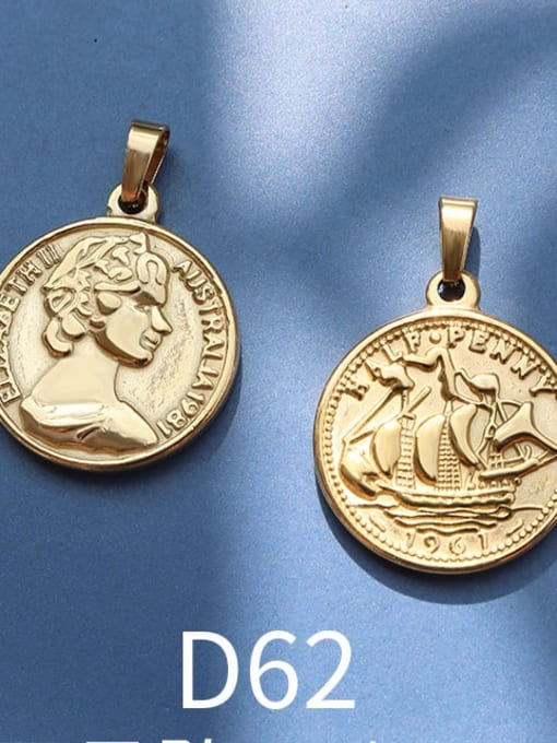 D62 gold Stainless steel Geometric  Vintage Pendant