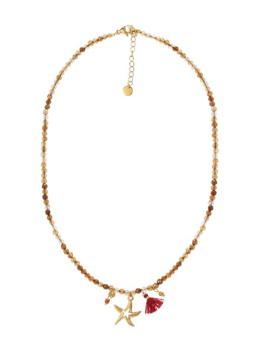 YAYACH Starfish Titanium Steel Necklace Handmade Beads Natural Stone Round Beads Summer Beach Holiday Clavicle Chain 2