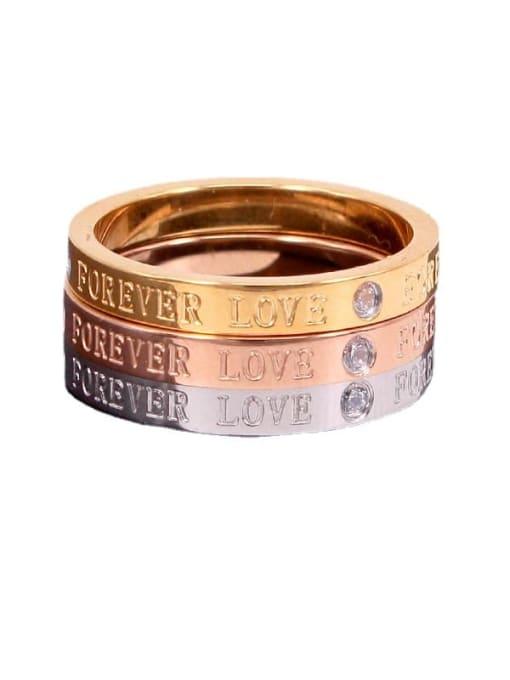 K.Love Titanium Steel Rhinestone Letter Minimalist Band Ring 1
