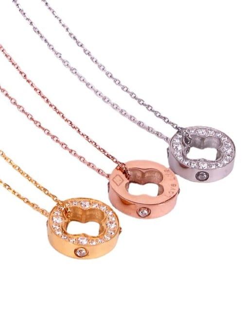 K.Love Titanium Steel Cubic Zirconia Clover Vintage Necklace