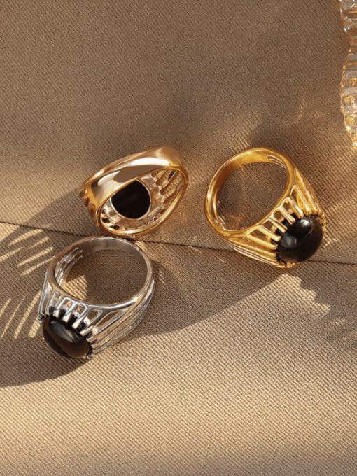 MAKA Titanium Steel Cats Eye Geometric Vintage Band Ring 2