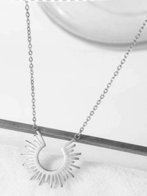 silver European and American style simple sun 18K titanium steel short necklace
